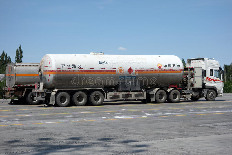 CNPC oil truck. In Xinjiang,China stock images