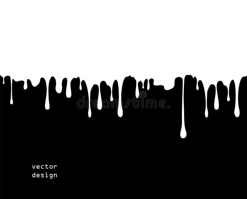 Coágulo grosso de fluxo da pintura, caramelo, tinta Por muito tempo, gotas viscosos Ilustração do vetor ilustração stock