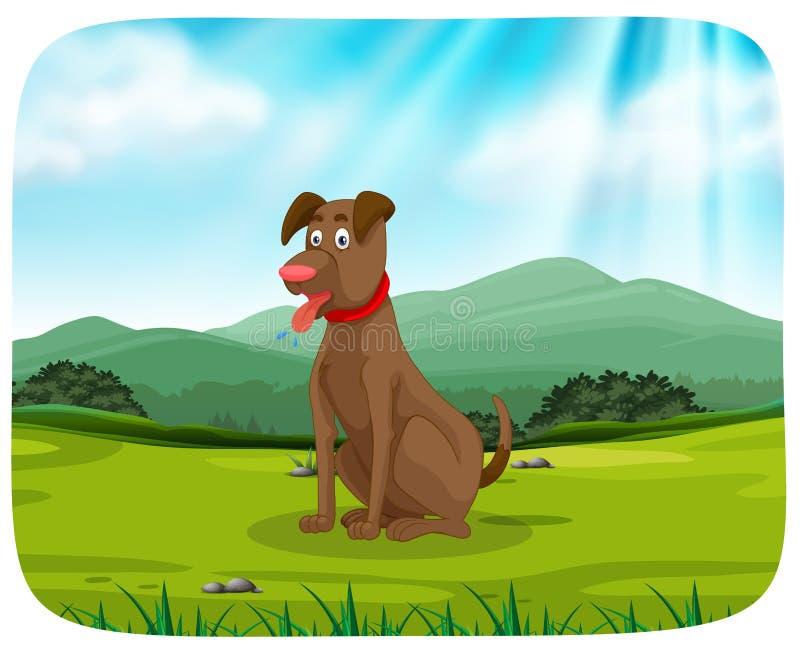 Собака в парке бесплатная иллюстрация