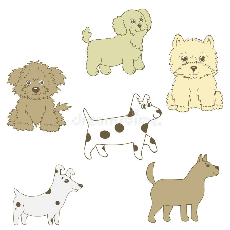 Vector illustration of a doggie six pieces. Different curly, smooth-haired, small. royalty free illustration