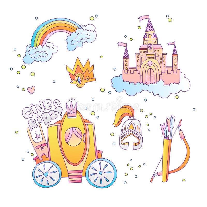 Собрание значка принцессы милого мультфильма волшебное Принцесса значка установила с замком принцессы, радугой, brougham, королев иллюстрация штока