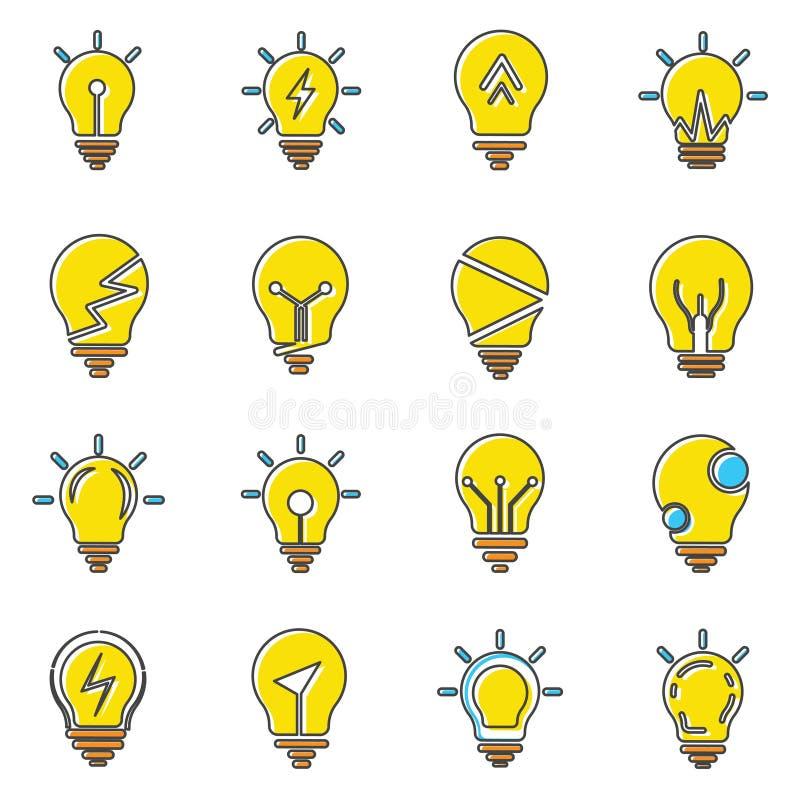 Собрание значков электрической лампочки в ультрамодном плоском стиле изолированное на белой предпосылке иллюстрация штока