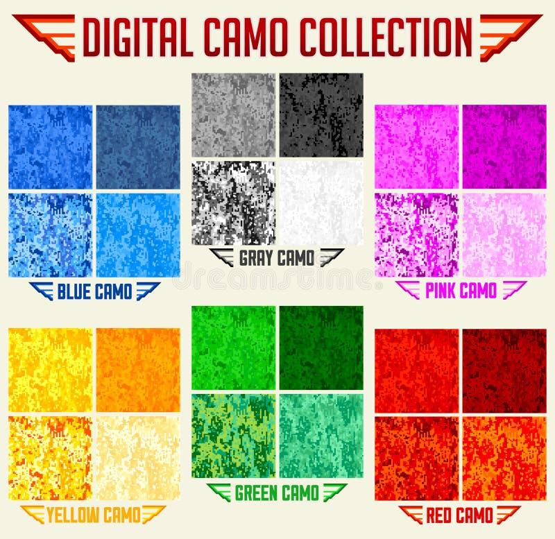 Собрание камуфлирования цифров вектора Camo цвета безшовное, набор картины бесплатная иллюстрация