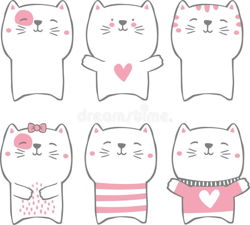 Собрание котов вычерченного стиля руки милое стоковые изображения