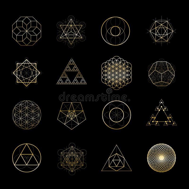 Собрание элементов дизайна вектора священной геометрии золотое Алхимия, вероисповедание, общее соображение, духовность, символы х иллюстрация вектора