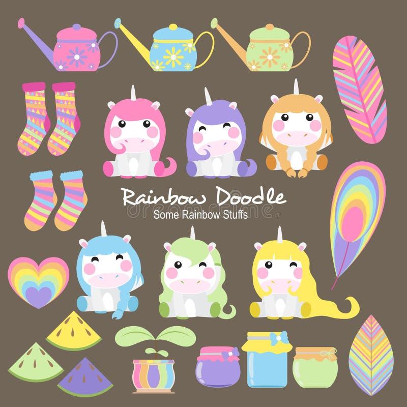 Собрание Doodle радуги бесплатная иллюстрация