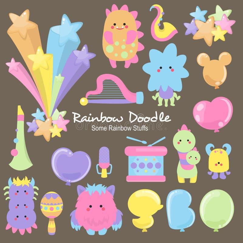 Собрание Doodle радуги иллюстрация штока