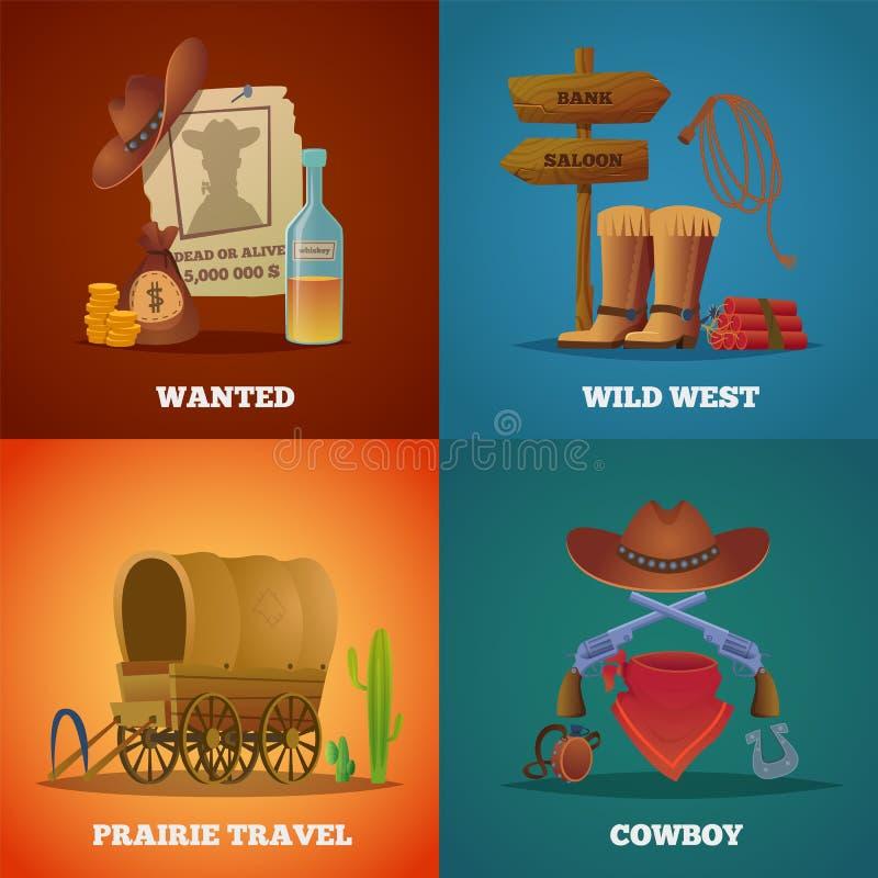 Собрания Дикого Запада Западные символы вектора салона и оружи лассо лошади ковбоев иллюстрация штока