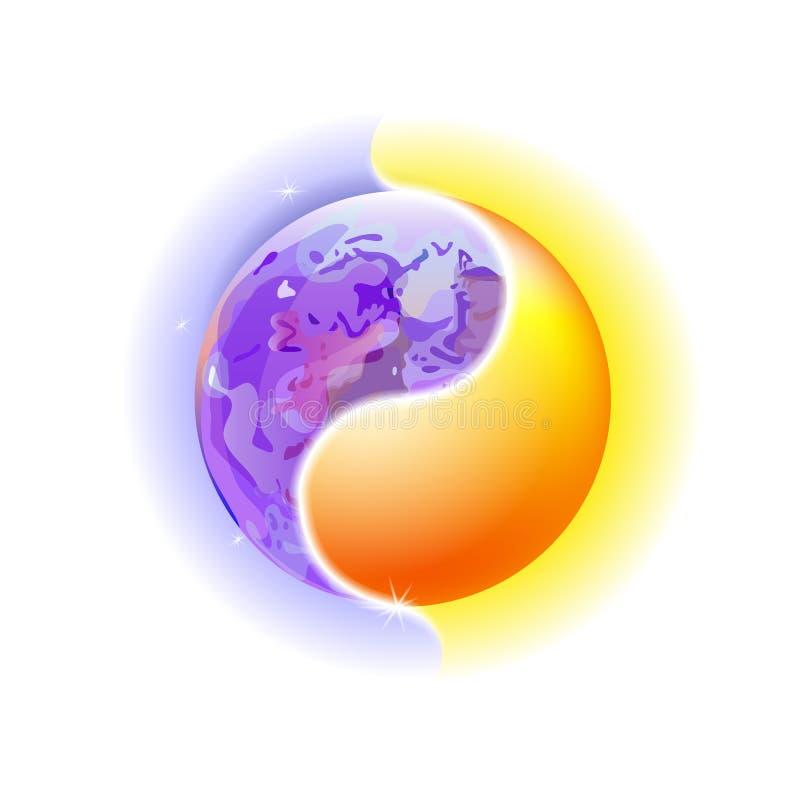 Современная голубая и космическая концепция Yin и мандала Yang Красочное солнце или орнаментальная луна, духовная релаксация Крас иллюстрация вектора