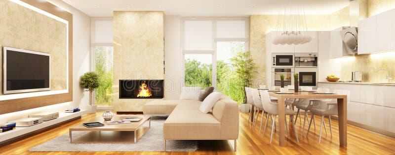 Современная живущая комната с камином и кухней иллюстрация вектора