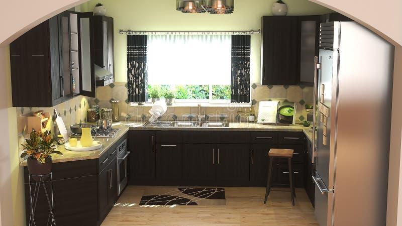Современная кухня с темной иллюстрацией мебели 3D иллюстрация штока