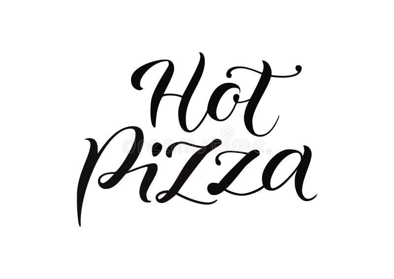 Современная литерность каллиграфии горячей пиццы в черном изолированной на белизне бесплатная иллюстрация