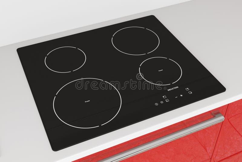 Современная плита Cooktop индукции с красной мебелью кухни перевод 3d стоковое изображение rf