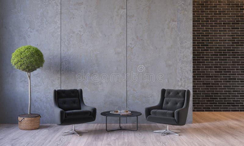 Современная просторная квартира внутренняя с креслами для отдыха мебели, завод, таблица, панели стены цемента архитектуры конкрет иллюстрация штока