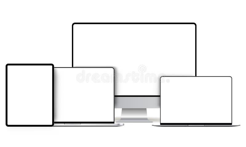 Современные модель-макеты приборов с пустыми экранами иллюстрация вектора