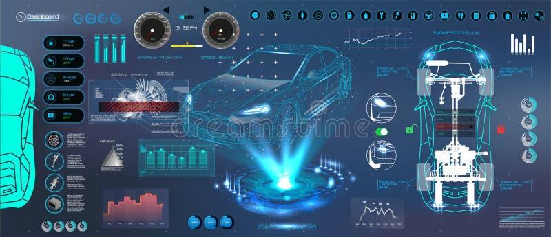 Современные диагностики UI автомобилей Стиль HUD UI иллюстрация вектора
