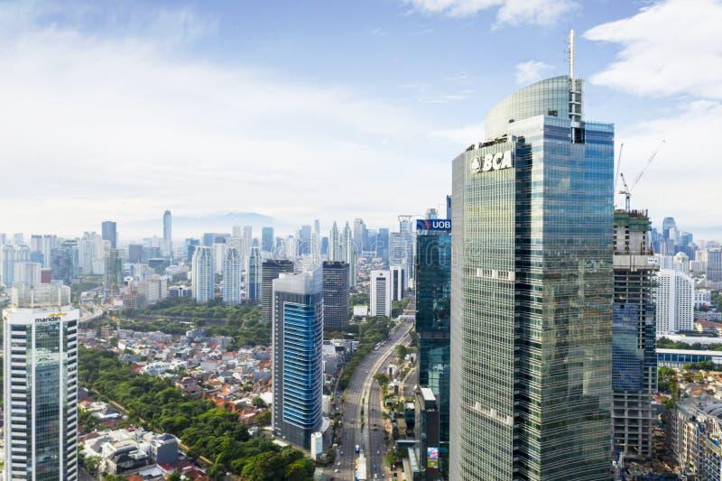 Современные офисные здания в Джакарте CBD стоковые изображения rf