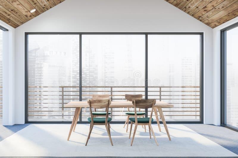 Современный белый пустой офис внутренний с dinning космосом 3d представляют 1 полет s птицы иллюстрация штока