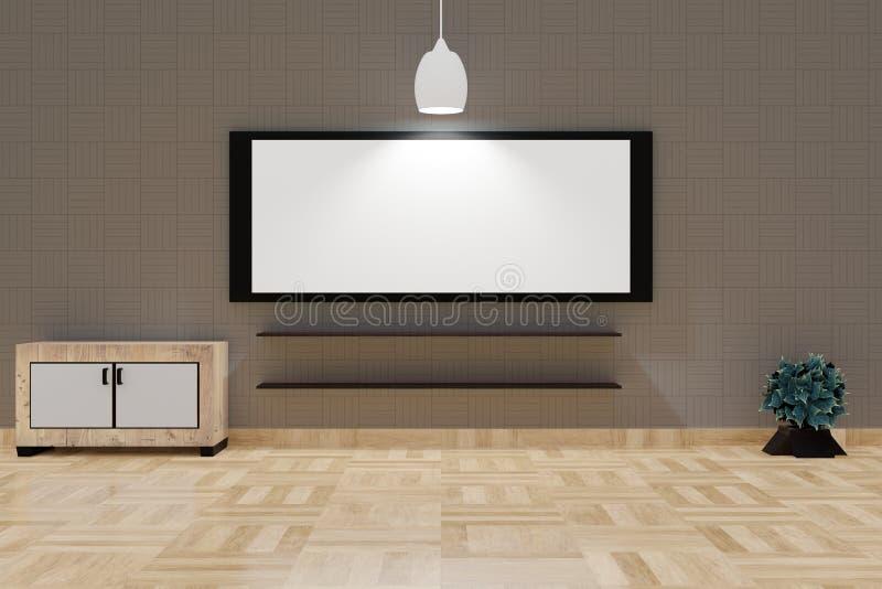 Современный интерьер живущей комнаты с большими белой доской и абажуром на верхней коричневой стене бесплатная иллюстрация