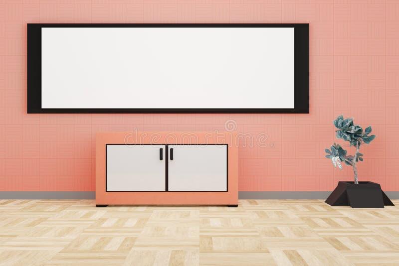 Современный интерьер живущей комнаты с большой белой доской на оранжевой стене иллюстрация вектора
