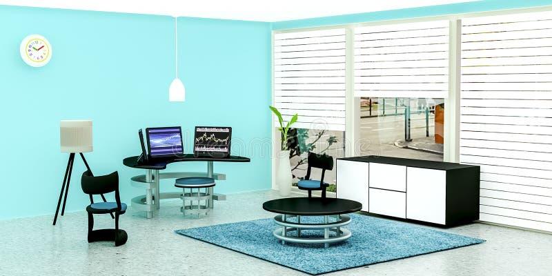 Современный интерьер комнаты работы бесплатная иллюстрация