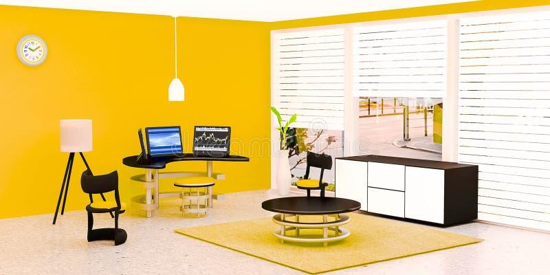 Современный интерьер комнаты работы, черный настольный компьютер 3 положил дальше стеклянный стол перед желтой стеной иллюстрация штока