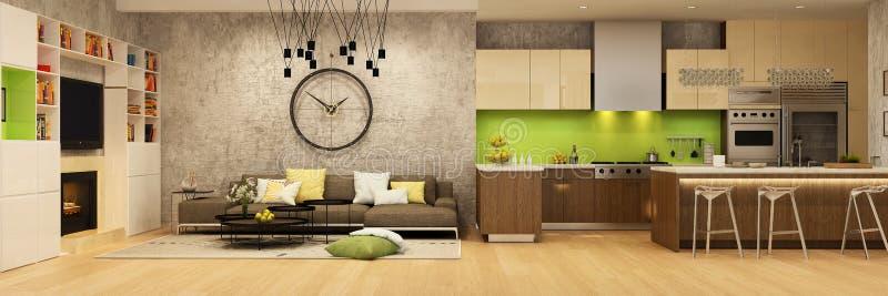 Современный интерьер дома живя комнаты и кухни в бежевых и зеленых цветах стоковая фотография