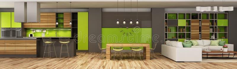 Современный интерьер дома живя комнаты и кухни в бежевых и зеленых цветах стоковое фото