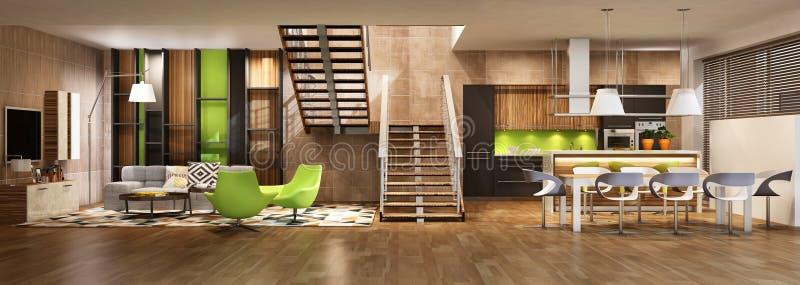 Современный интерьер дома живя комнаты и кухни в черных и зеленых цветах стоковая фотография rf