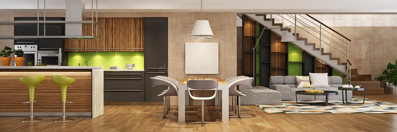 Современный интерьер дома живя комнаты и кухни в черных и зеленых цветах стоковое фото rf