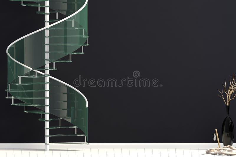 Современный интерьер с винтовой лестницей иллюстрация 3d иллюстрация вектора