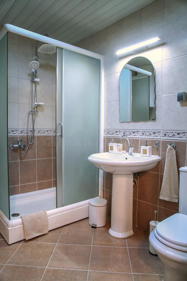 Современный коричневый bathroom с ливнем, раковиной и коричневыми плитками стоковое изображение