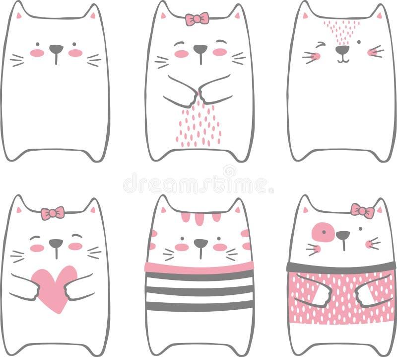 Современный милый набор котов стоковые фотографии rf