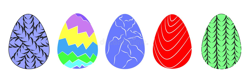 Современный набор декоративных покрашенных значков пасхального яйца иллюстрация вектора