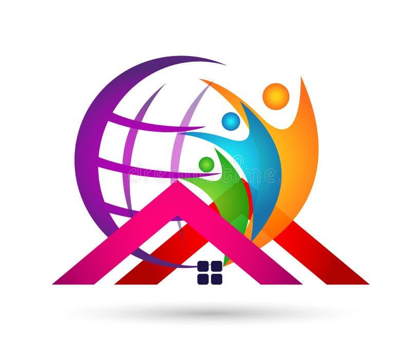 Соединение людей глобуса в здоровье успеха работы команды счастья домашнего значка логотипа заботы семьи дома выигрывая совместно бесплатная иллюстрация