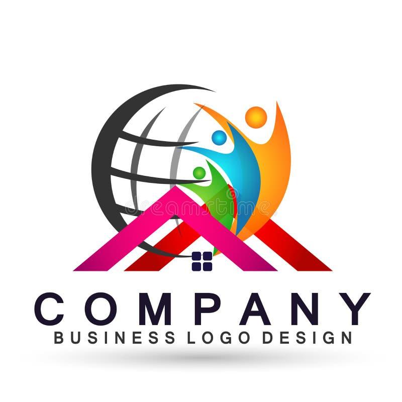 Соединение людей глобуса в здоровье успеха работы команды счастья домашнего значка логотипа заботы семьи дома выигрывая совместно иллюстрация штока