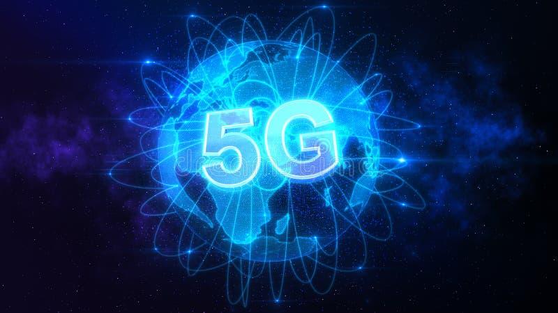 соединение 5G над миром иллюстрация вектора