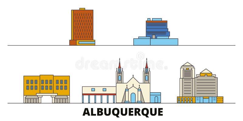 Соединенные Штаты, иллюстрация вектора ориентиров Альбукерке плоская Соединенные Штаты, линия город Альбукерке с известным переме иллюстрация вектора