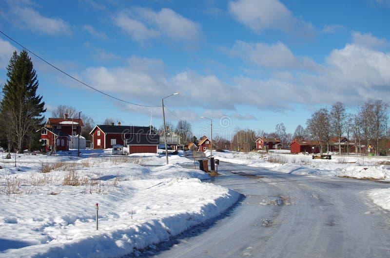 Солнечный зимний день в Швеции стоковые фотографии rf