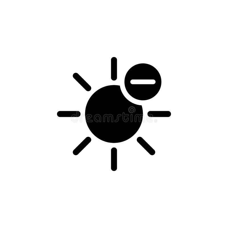 Солнце минус значок Элемент иллюстрации погоды Знаки и символы можно использовать для сети, логотипа, мобильного приложения, UI,  иллюстрация штока