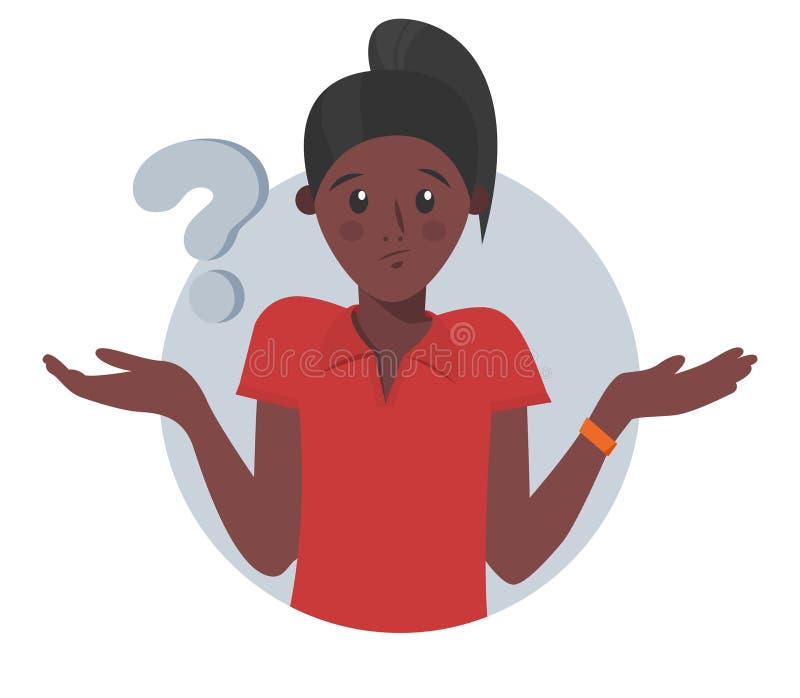 Сомнения девушки мультфильма милые черные, думают почему маркируйте женщину вопроса также вектор иллюстрации притяжки corel иллюстрация штока