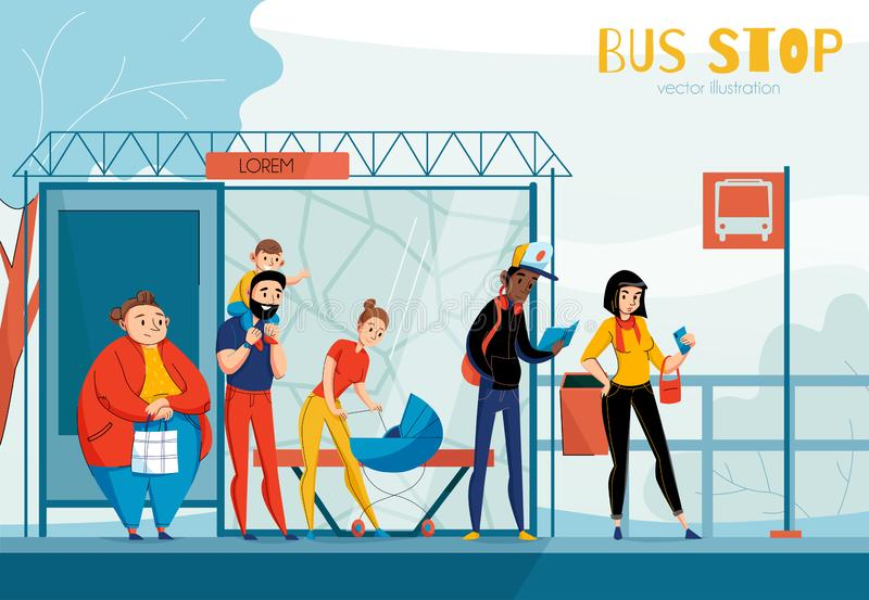 Состав автовокзала людей очереди иллюстрация вектора