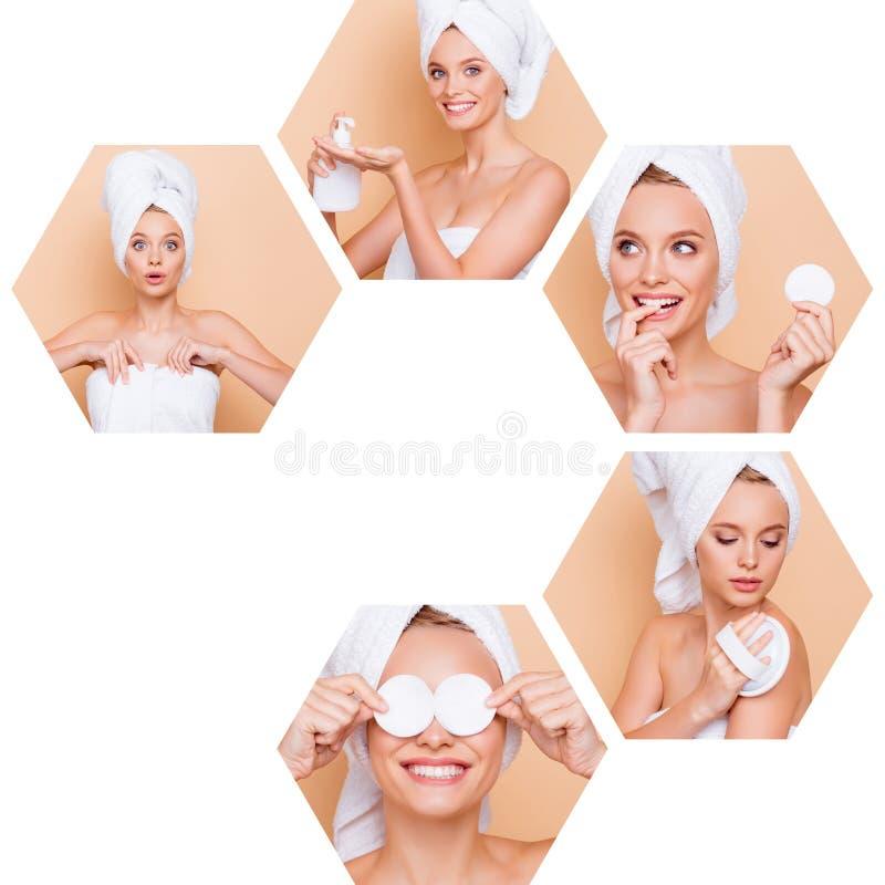 Состав коллажа шестиугольной славной привлекательной прекрасной девушки 5 делая различного эффективного полезного профессионала стоковые изображения
