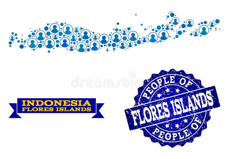 Состав людей карты мозаики островов Индонезии - Flores и огорчить уплотнение бесплатная иллюстрация