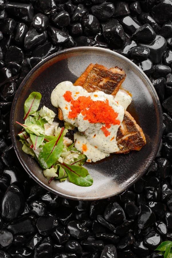 Соус стейка морского волка со сливками стоковое фото rf