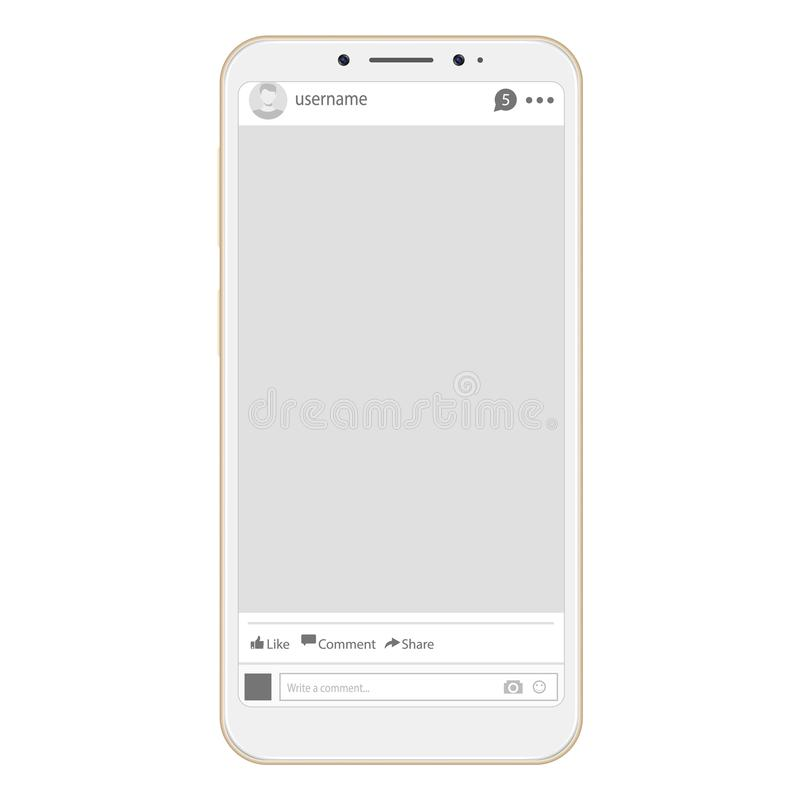 Социальный интерфейс сети профиля страницы Социальная рамка сетевого интерфейса с плоским значком Социальная рамка фото сети на с бесплатная иллюстрация