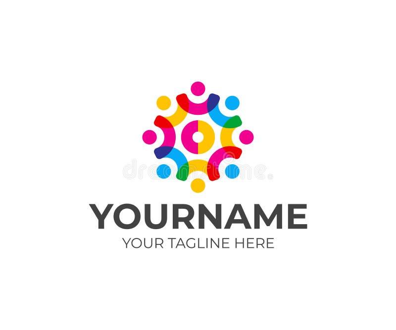 Социальный дизайн логотипа команды сети Община людей в форме дизайна вектора шестерни бесплатная иллюстрация