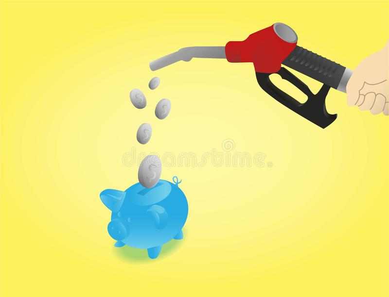 Сохраните на топливных затратах с желтой предпосылкой бесплатная иллюстрация