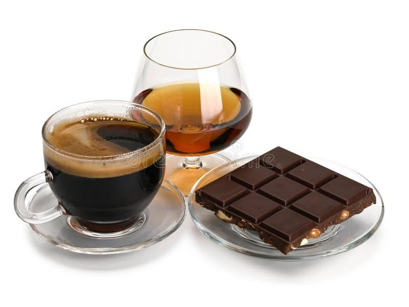 Coñac, café, chocolate imágenes de archivo libres de regalías