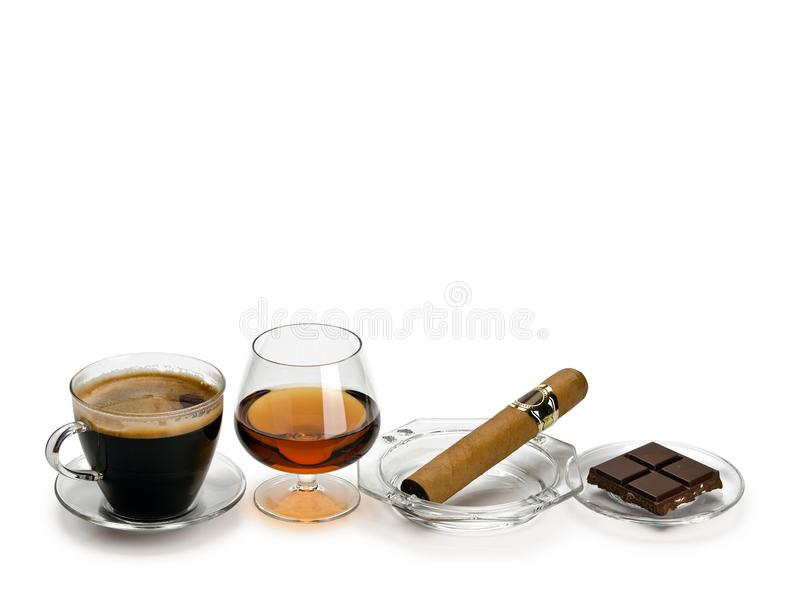 Coñac, cigarro, café, chocolate fotografía de archivo libre de regalías